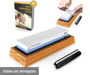 Premium-Knife-Sharpening-Stone-2-Side-Grit-10006000-Waterstone--Best-Whetstone-Sharpener--NonSlip-Bamboo-Base-&-Angle-Guide-Review